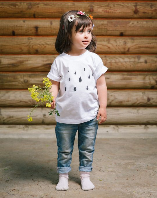 Camiseta infantil algodón orgánico Lluvia