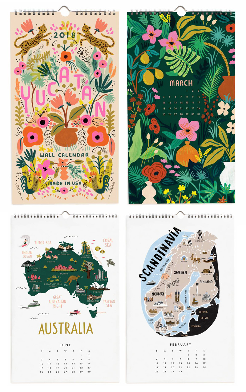 Calendarios bonitos 2018: Paper Riffle Bond