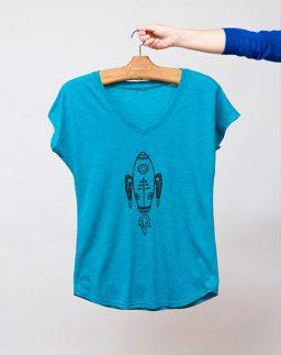 Camiseta azul de chica Cohete